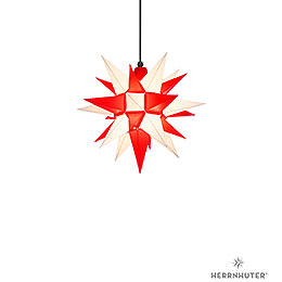 Herrnhuter Moravian star A4 white/red plastic  -  40cm/16inch