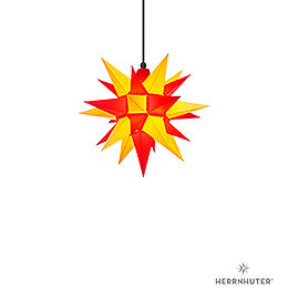 Herrnhuter Moravian star A4 yellow/red plastic  -  40cm/16inch