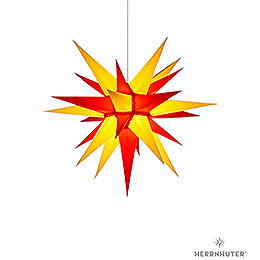 Herrnhuter Moravian star I6 yellow/red paper  -  60cm