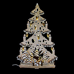 Light triangle fir tree with cones, snow balls and white frost  -  38x72cm / 15x28.3nch