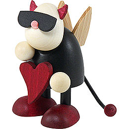 Little devil Gustav standing with heart    -  7cm / 2.8inch