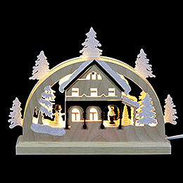 Mini LED Candle Arch  -  Forest House  -  23x15x4.5cm / 9x6x2 inch