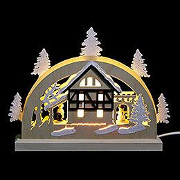 Mini LED Schwibbogen  -  Fachwerkhaus  -  23 x 15 x 4,5cm