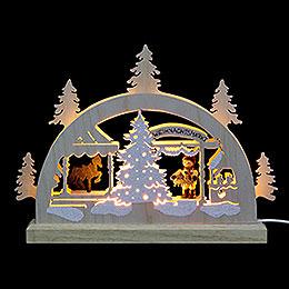 Mini LED Schwibbogen  -  Weihnachtsmarkt  -  23 x 15 x 4,5cm