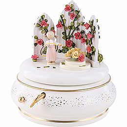 "Music box ""In the rose garden"", rosé  -  18cm / 7 inch"