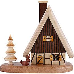 Räucherhaus auf Sockel, natur  -  16x15,5x10cm