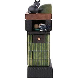 Räuchermännchen Kachelofen rauchend grün  -  20cm