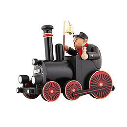 Räuchermännchen Lokomotivführer mit Lokomotive