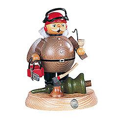 R�ucherm�nnchen Waldarbeiter mit Motors�ge  -  18cm