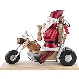 Räuchermännchen Weihnachtsmann auf Motorrad  -  21cm
