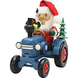 Räuchermännchen Weihnachtsmann auf Traktor  -  19,5cm