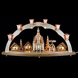 Schwibbogen Dresdner Frauenkirche mit Pyramide  -  80x40cm