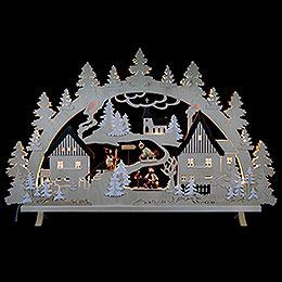 Schwibbogen  -  Erzgebirgsdorf mit Figuren, Übergröße  -  125x82x16cm