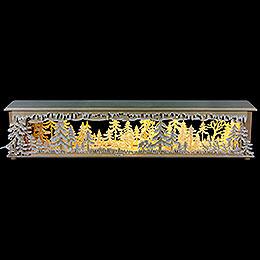 Schwibbogen - Unterbau/Raumleuchte Waldlichtung mit Raureif  -  70x12x12cm