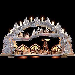 Schwibbogen verschneiter Weihnachtsmarkt (variabel)  -  72x43x13cm