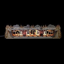 Schwibbogenerh�hung Bergbau mit Bergleuten exclusiv Thielfiguren, beleuchtet  -  79x20x16cm