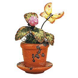 Set of three -  Flower pot clover flower  -  6cm / 2,5inch