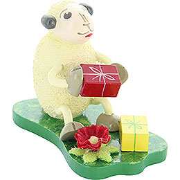 "Sheep ""Jubilari"", gets presents  -  5,5cm / 2.2inch"