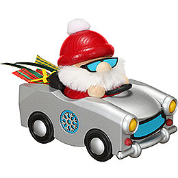 Smoker Ball Figure Santa in Trabi  -  12cm / 4.7inch