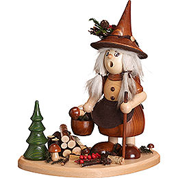 Smoker Lady Gnome on Board, natural  -  25cm / 10inch