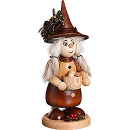 Smoker Lady Gnome with Cooking Pot, natural  -  25cm / 10inch
