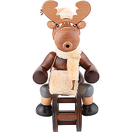 Smoker Moose with sleigh  -  29cm / 11 inch