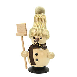 Smoker Snowboy with Snow Shovel natural colors  -  12cm / 5 inch