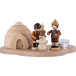 Smoker igloo with winter children on pedastal for one tea candle, natural  -  10x21,5x12cm