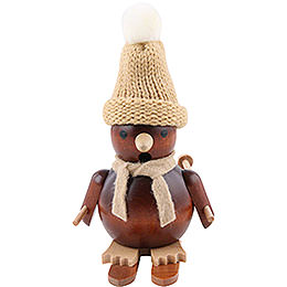 Smokers Penguin on Ski natural wood  -  11cm / 4 inch