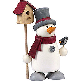Snow man Fritz with bird house    -  9cm / 3.5inch