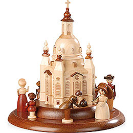 Theme Platform for Electr. Music Box  -  Historical Scene in Front of Church of Our Lady  -  15cm / 6 inch