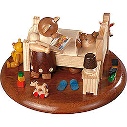 Theme platform for electr. Music Box  -  Bear bed with good night stories  -  8cm / 3 inch