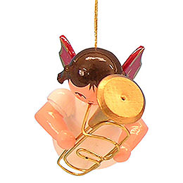Tree Ornament  -  Angel with Baritone  -  Red Wings  -  Floating  -  5,5cm / 2,1 inch
