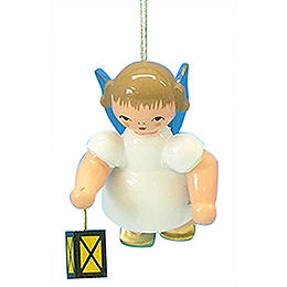 Tree Ornament  -  Angel with Lantern  -  Blue Wings  -  Floating  -  6cm / 2,3 inch
