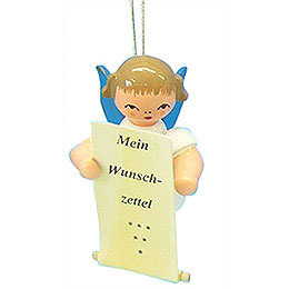 Tree Ornament  -  Angel with List of Whishes  -  Blue Wings  -  Floating  -  6cm / 2,3 inch
