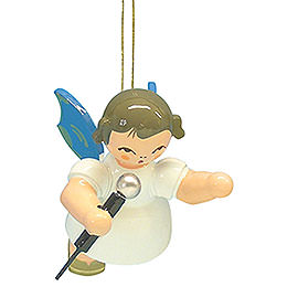 Tree Ornament  -  Angel with Microphone  -  Blue Wings  -  Floating  -  5,5cm / 2,1 inch