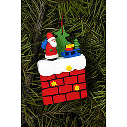 Tree Ornament  -  Chimney with Santa Claus  -  4,8x7,6cm / 1.9x3.0 inch