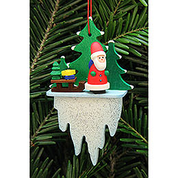 Tree Ornament  -  Santa Claus with Sleigh on Icicle  -  5,5x8,8cm / 2.2x3.4 inch