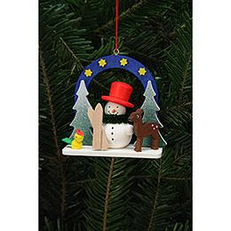 Tree Ornament  -  Starry Sky with Snowman  -  7,5x7,1cm / 3x3 inch