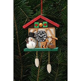 Tree Ornaments Cuckoo Clock Snowman with Well  -  7,0x6,7cm / 3x3 inch