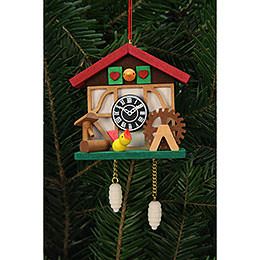 Tree Ornaments Cuckooo Clock with little Bird  -  7,0x6,7cm / 3x3 inch