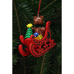 Tree Ornaments Teddy in Sleigh  -  7,5x7,1cm / 3x3 inch