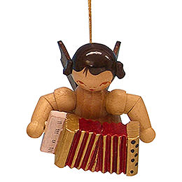 Tree ornament Angel with accordion  -  natural colors  -  floating  -  5,5cm / 2,1 inch