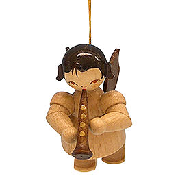 Tree ornament Angel with clarinet  -  natural colors  -  floating  -  5,5cm / 2,1 inch