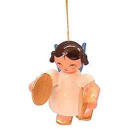 Tree ornament Angel with cymbal  -  Blue Wings  -  floating  -  5,5cm / 2,1 inch