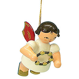 Tree ornament Angel with jingle ring  -  Red Wings  -  floating  -  5,5cm / 2,1 inch