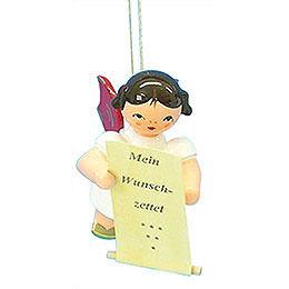 Tree ornament Angel with list of whishes  -  Red Wings  -  floating  -  6cm / 2,3 inch