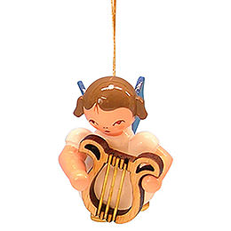 Tree ornament Angel with lyre  -  Blue Wings  -  floating  -  5,5cm / 2,1 inch