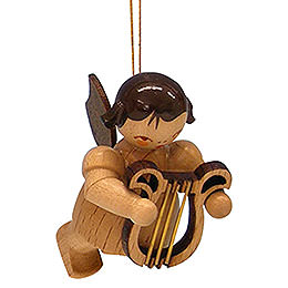 Tree ornament Angel with lyre  -  natural colors  -  floating  -  5,5cm / 2,1 inch