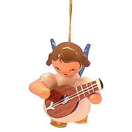 Tree ornament Angel with mandolin  -  Blue Wings  -  floating  -  5,5cm / 2,1 inch